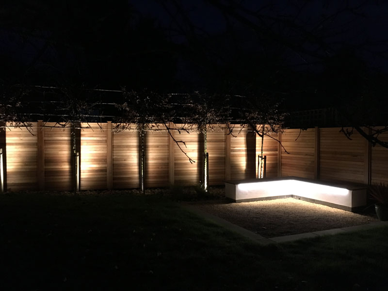Private garden Ely, feature lighting