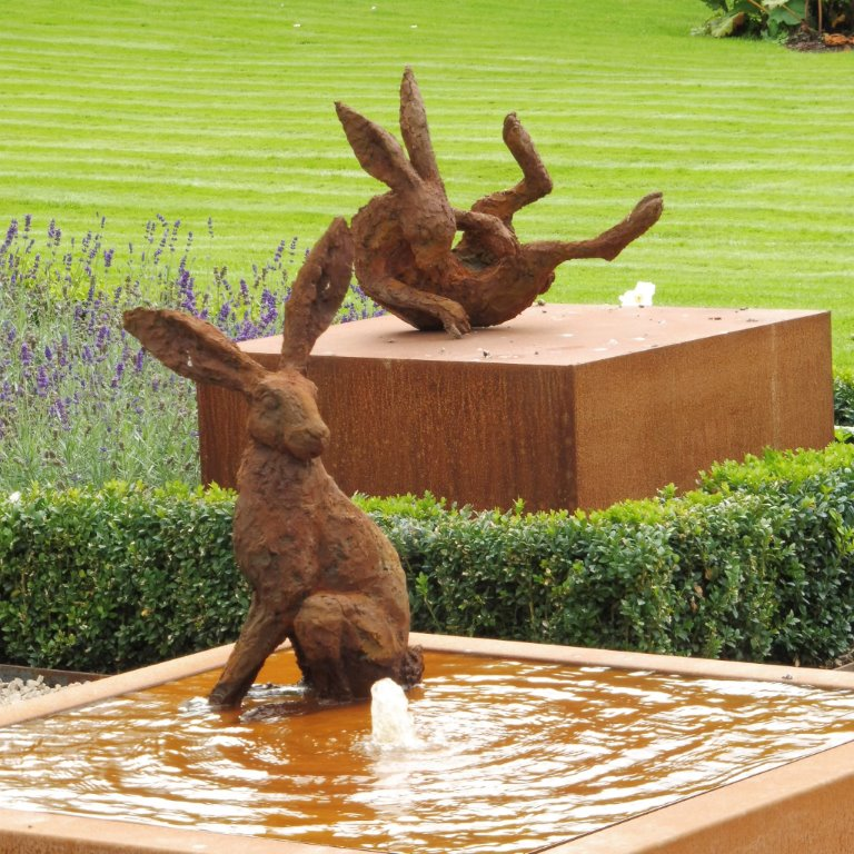 Large hare sculptures