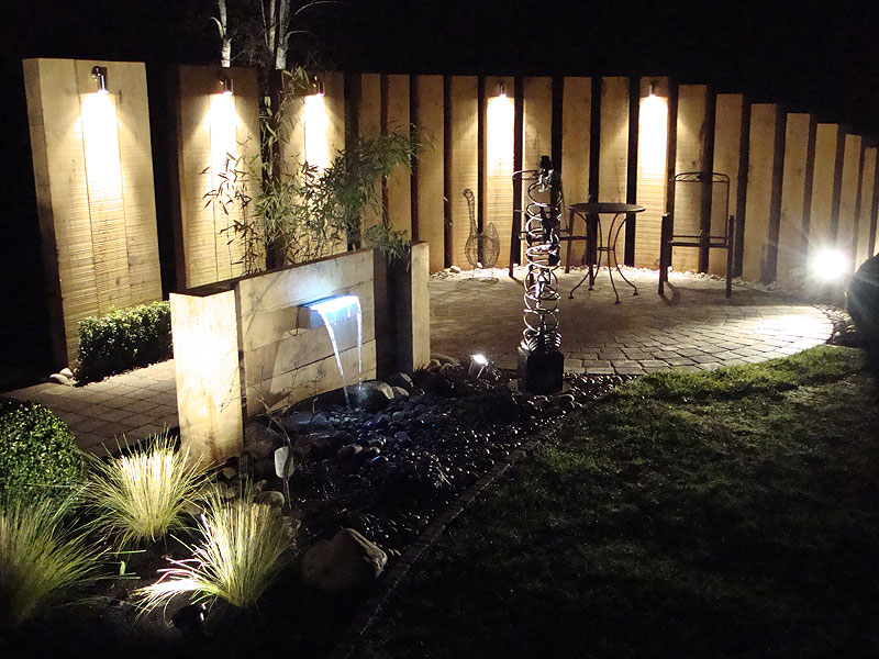 Garden lights and water feature